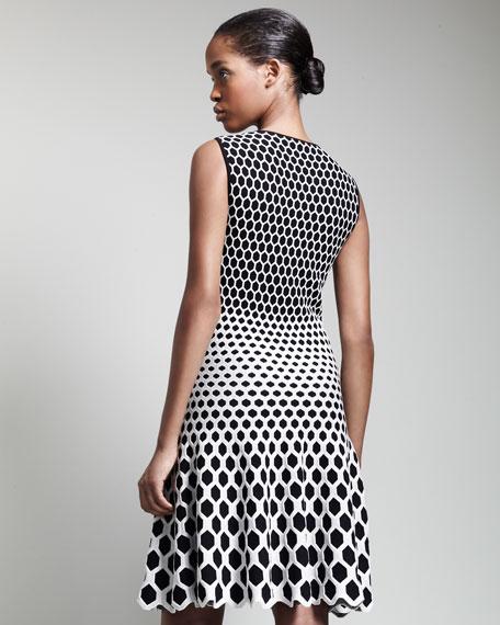 Honeycomb Jacquard Above-Knee Dress