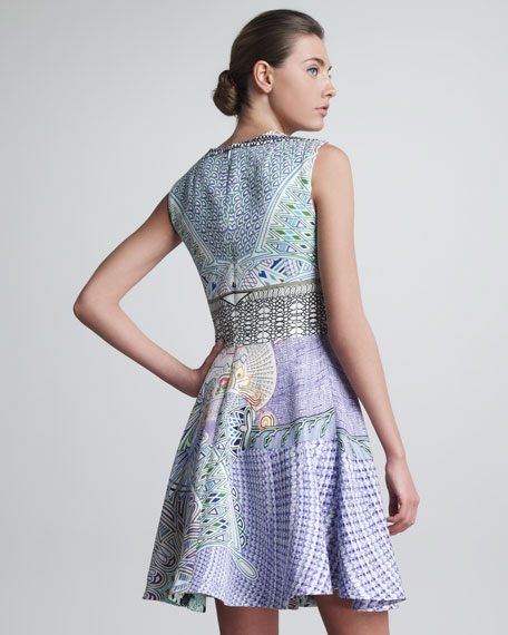Babs Printed Circle-Skirt Sleeveless Dress, Purple/Multicolor