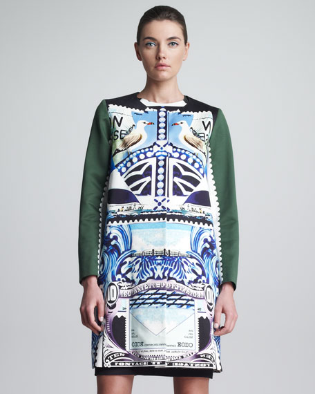 Printed Snap-Front Coat, Multicolor