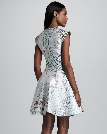 Shimmery Babylonia-Print Dress, Silver/Multi