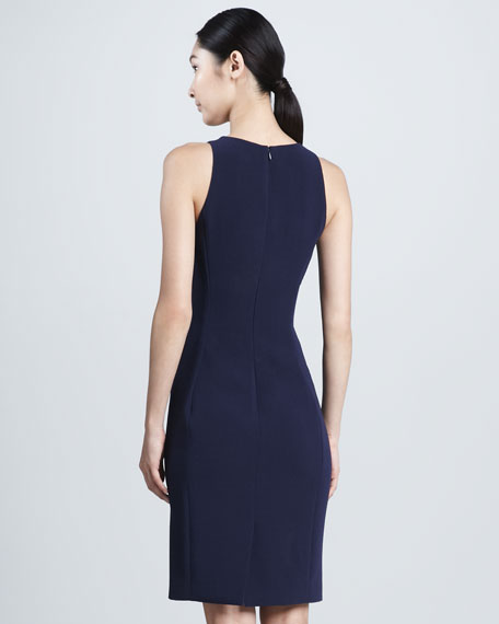 Square-Neck Sleeveless Dress, Navy