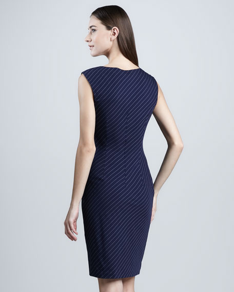 Faux-Wrap Pinstriped Dress