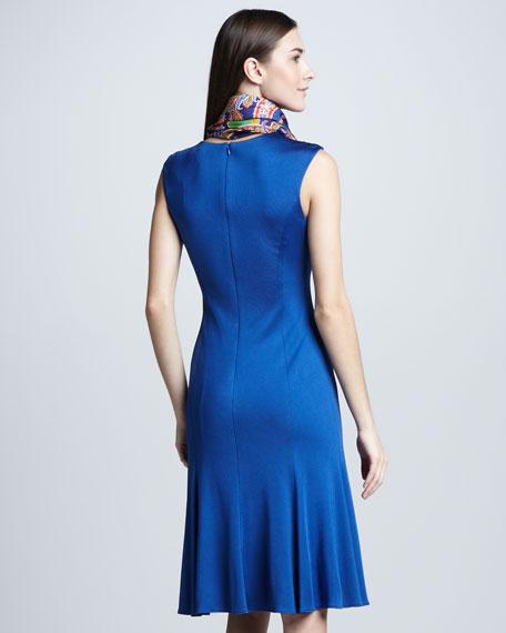 Cap-Sleeve Easy-Skirt Dress, Windsor Blue