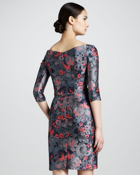 Off-the-Shoulder Floral Jacquard Dress, Blue