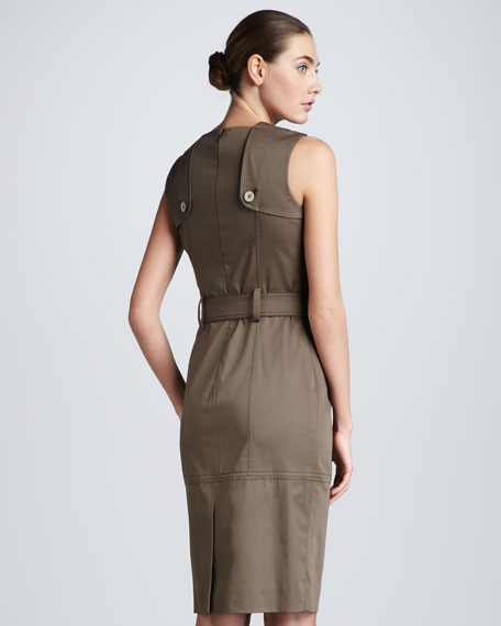 Belted Twill Dress, Olive