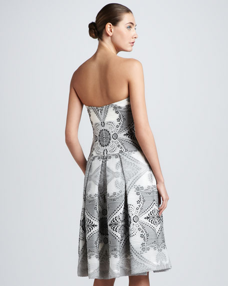 Strapless Baroque Damask Dress, Black/Ivory