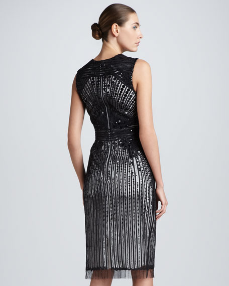 Sequined Tulle Cocktail Dress, Black