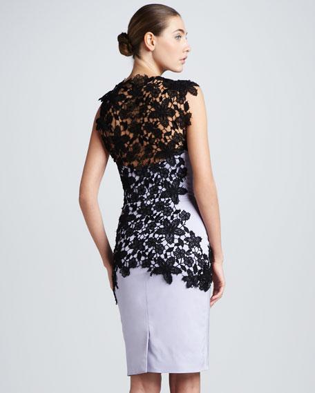Lace-Applique Bustier Dress, Lavender