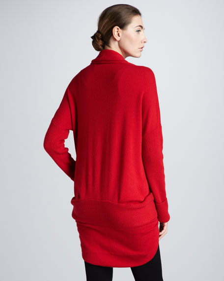 Mid-Weight Cashmere Cocoon Jacket, Red