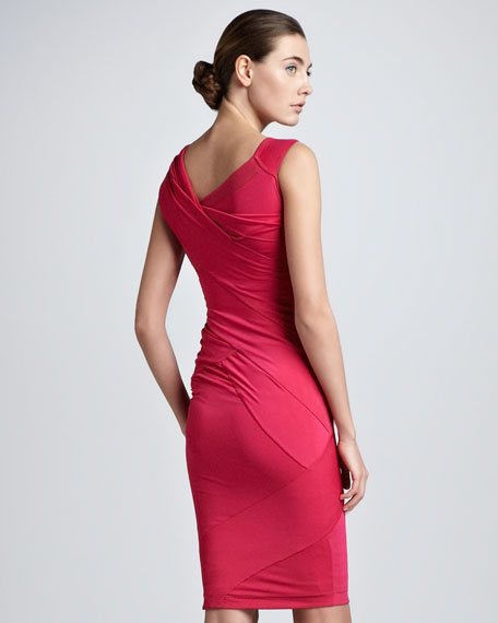 Off-Shoulder Jersey Dress, Shocking Pink