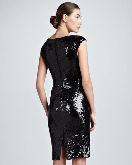 Sequined Cap-Sleeve Dress, Black