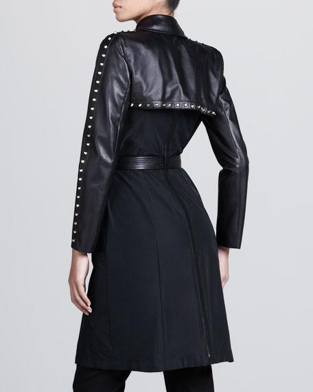 Leather-Sleeve Studded Trenchcoat