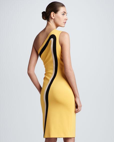 Dondi One-Shoulder Jersey Dress, Yellow