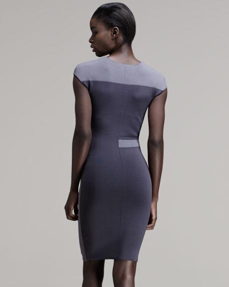Tone-on-Tone Intarsia Sheath Dress