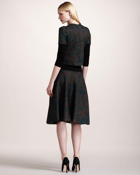 Leopard-Print Matelasse Skirt