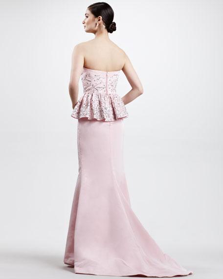 Beaded Bustier Peplum Gown, Light Pink