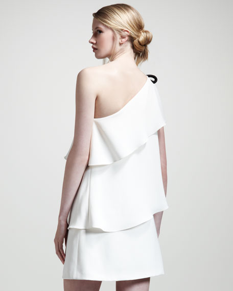 Asymmetric Tiered Dress, Off-White