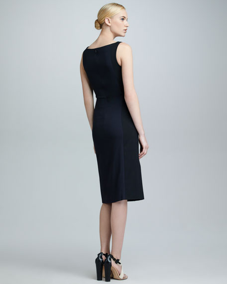 High-Neck Colorblock Dress, Black/Navy