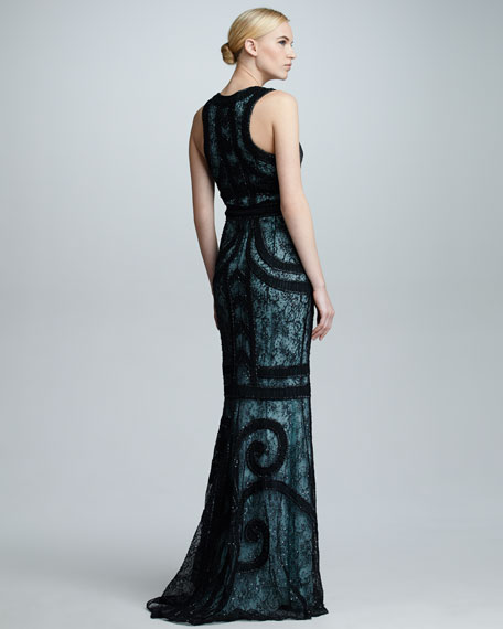 Swirl Embroidered Gown, Black/Teal