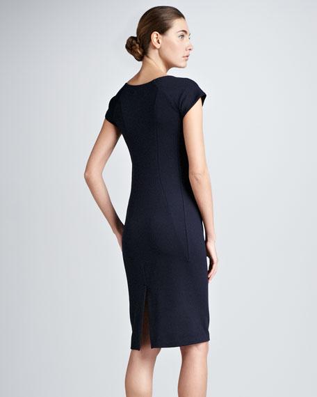 Bib-Detail Jersey Sheath Dress