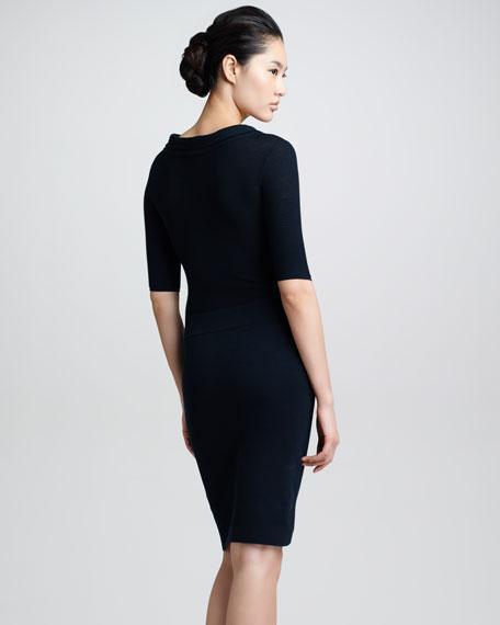 Half-Sleeve Knit Dress, Navy