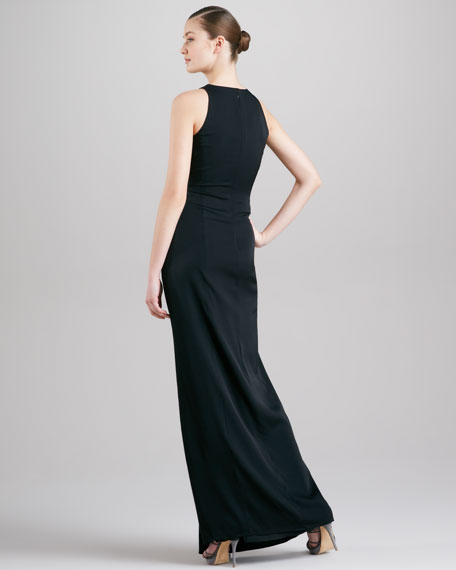 Knotted Sleeveless Gown, Black