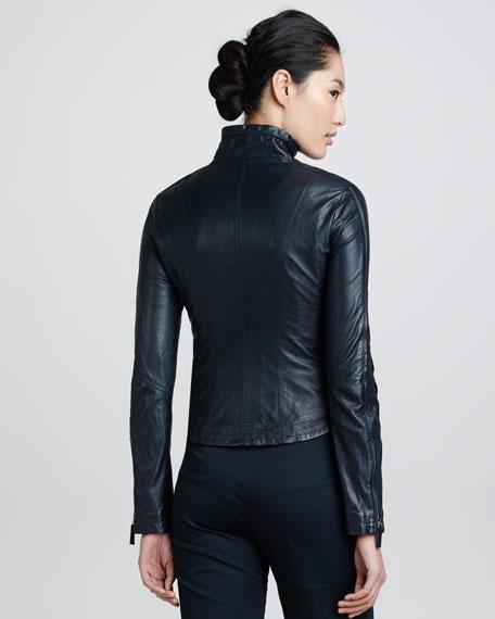 Drawstring-Collar Leather Jacket, Perse