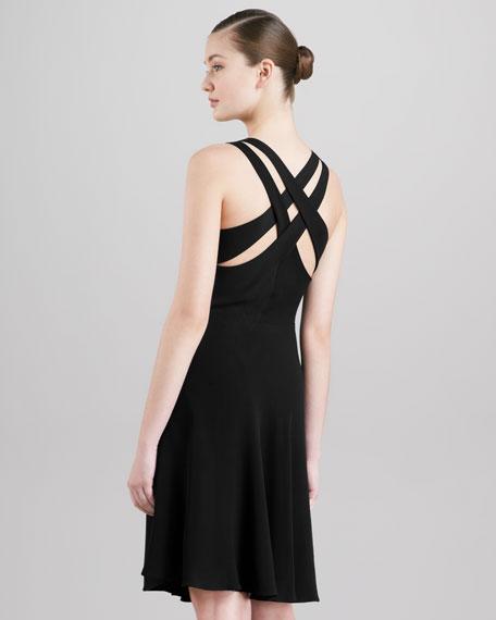 Crisscross-Back Dress, Black