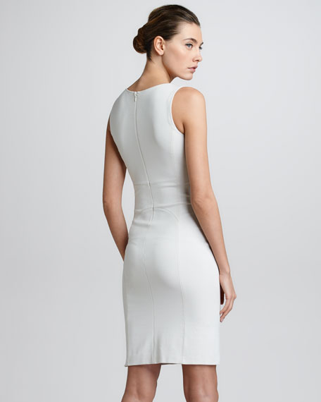 Seamed Sleeveless Jersey Sheath Dress, Light Beige