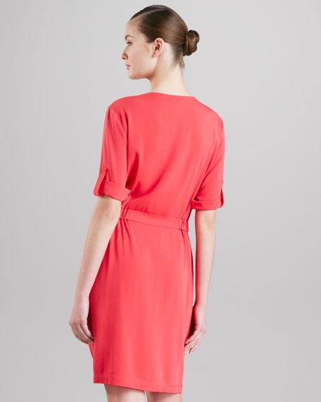Pocketed Silk Shirtdress, Dragonfruit