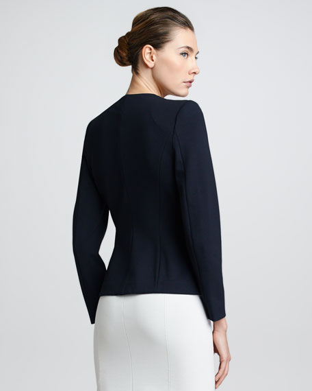 Contrast-Trim Jacket, Navy