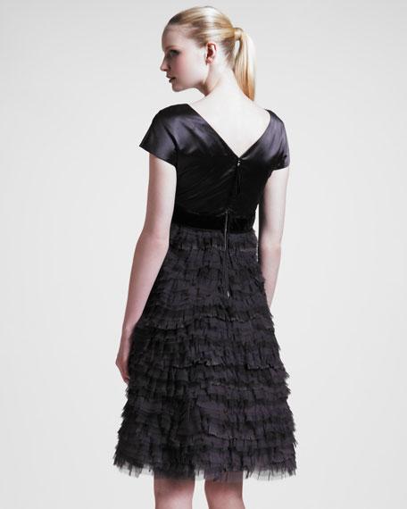 BG 111th Anniversary Ruffled Cap-Sleeve Dress