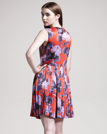 Dias Pleated Floral-Print Dress