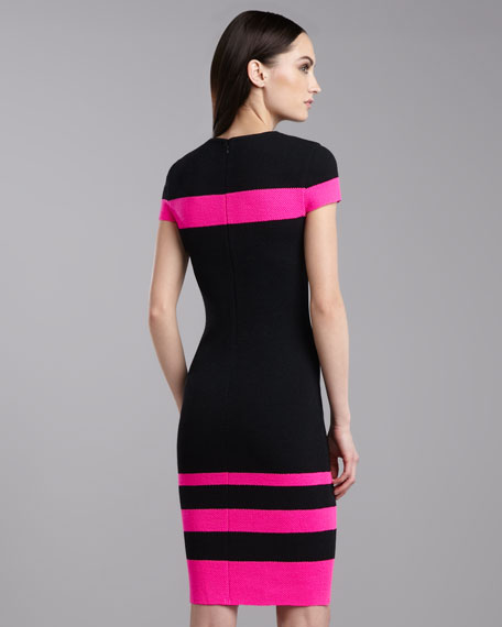 Mod Pique Jewel-Neck Dress, Caviar/Pink