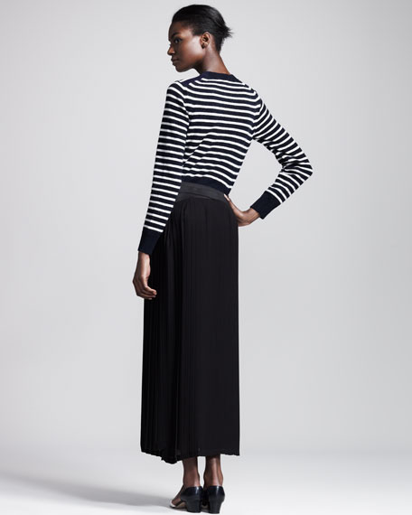 Long Pleated Georgette Skirt