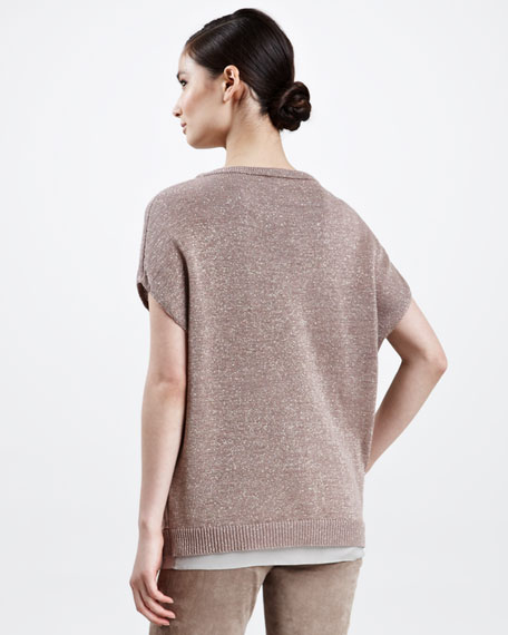 Pocketed Metallic Short-Sleeve Pullover, Kangaroo