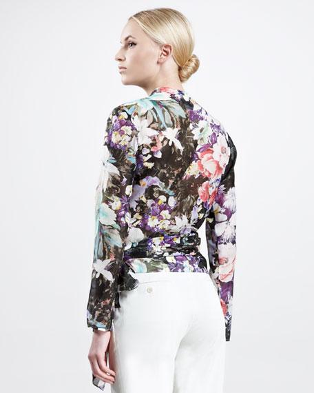 Floral-Print Voile Wrap Blouse