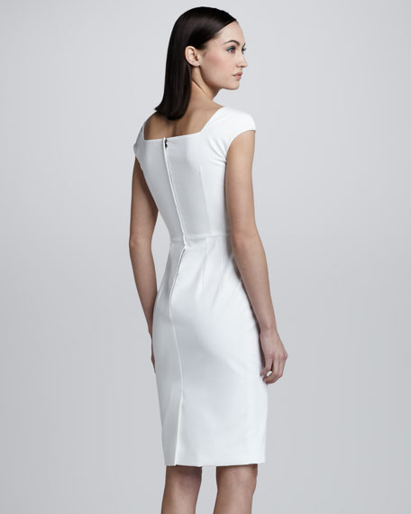 Offset-Sleeve Pique Sheath Dress