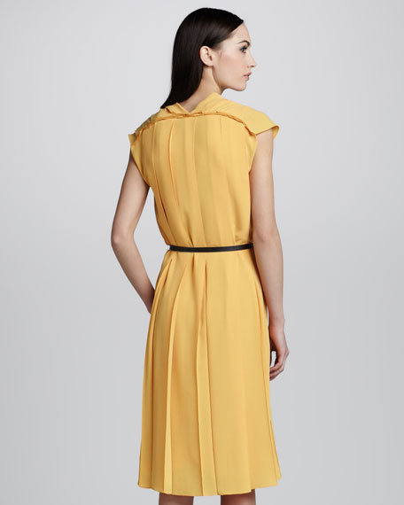 Pleated Crepe Dress & Leather Belt, Yellow