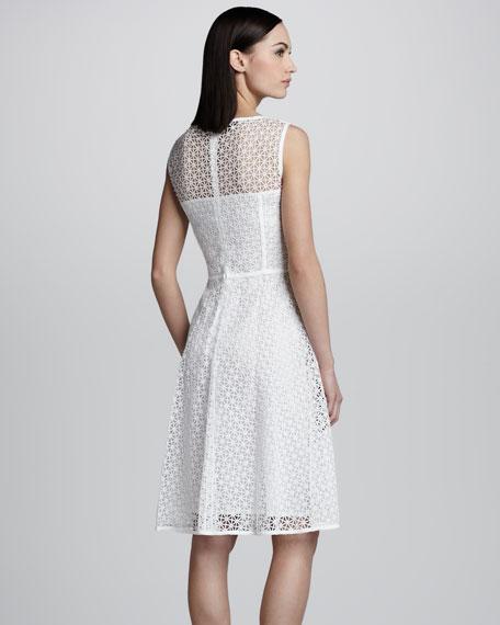 Geometric Lace Dress, White
