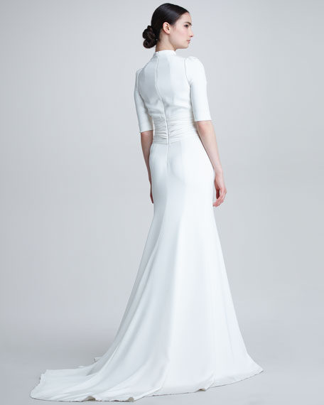 Elbow-Sleeve Keyhole Silk Gown, Ivory
