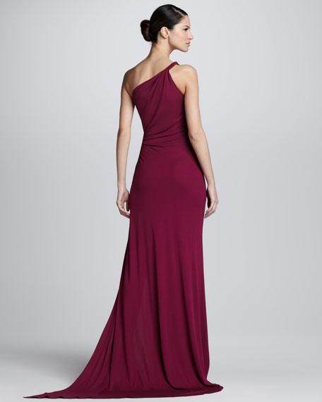 Twisted One-Shoulder Gown, Dark Red