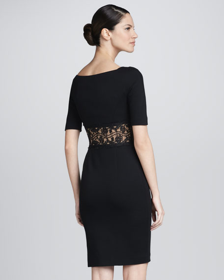 Half-Sleeve Lace Inset Dress, Black