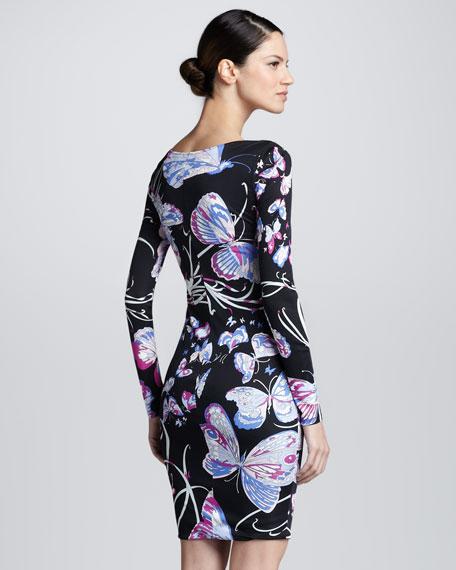 Asymmetric Butterfly-Print Dress, Black/Pink