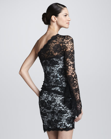 One-Shoulder Lace Dress, Black/Light Blue