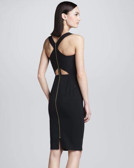 Piora Cross-Back Sheath Dress, Black