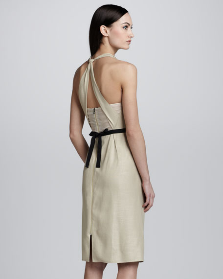 Clementi Funnel-Neck Halter Dress, Champagne