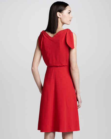 Knotted Bateau-Neck Dress, Red