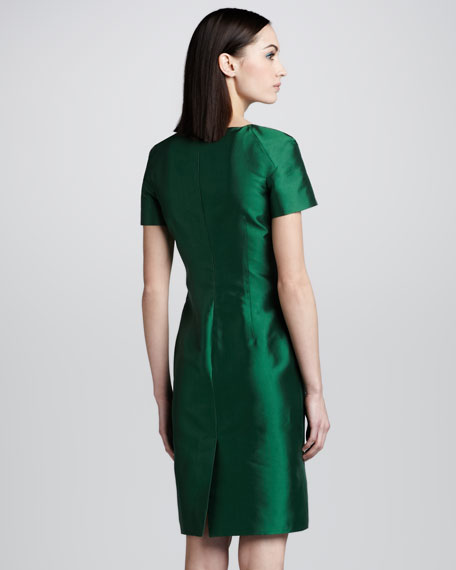Floral Lace-Front Silk Dress, Emerald