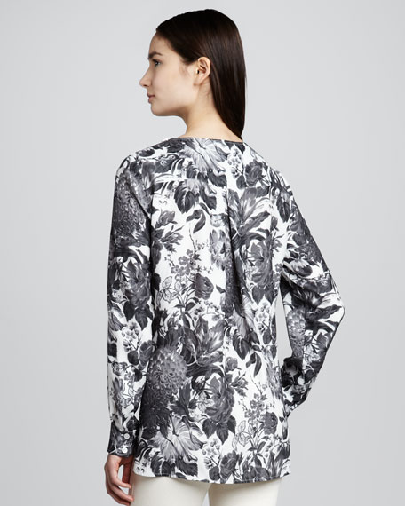 Long-Sleeve Floral-Print Top